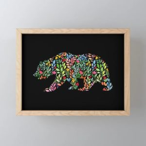bear-floral-watercolor-modern-art-framed-mini-art-prints