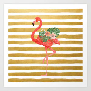 flamingo-watercolor-art-golden-stripes-prints