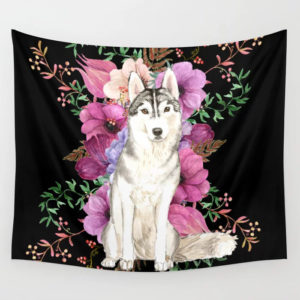 siberian-husky-floral-watercolor-art-tapestries